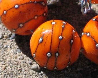 Handmade Glass Lampwork Beads, focal filler art bead Pumpkin Orange/Pure Silver 11mm round
