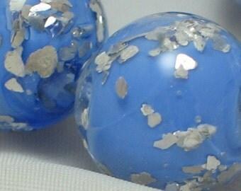 "Handmade Glass Lampwork Beads, ""Periwinkle/Glitter"", 11mm round focal filler functional art"