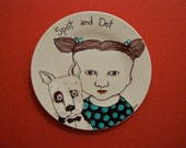 hand painted plate ,sandy mastroni, whimsical sweet ,dog and girl original art white plate, stipple,unique wall art illustration