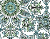 Clothworks, From Skipping stones Studio, Andalusia  Geometric Flowers white, yard