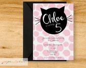 Cat - Kitten - Birthday Party Invitation - Pink and Black - Digital File or Printed