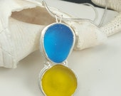Sea Glass Necklace Turquiose Sea Glass Yellow Sea Glass Jewelry - N-384