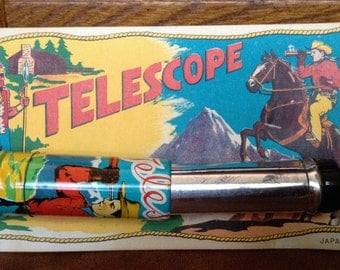 Cowboy and Indian Telescope 1950's Tin Lithograph Still on Card Vintage Western Graphics