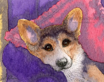 Welsh Corgi dog tri 5x7 8x10 11x14 print pup tricolor wisdom relax chill out chillax take a break from Susan Alison watercolor painting