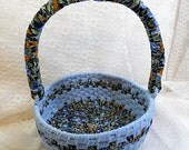 Sky Blue - Navy Floral Print Round Rag Basket