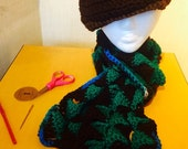 Newsboy Hat & Tons of Triangles Scarf set - Ready to Wear - Chocolate, Green and Blue