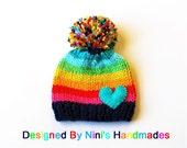 Chunky Knit Rainbow with Heart Pom Pom Hat, baby hat, baby, pom pom, rainbow, kids hats, girls clothing, girls accessories, clothing, beanie