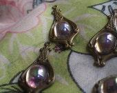 20% off sale LIght Amethyst AB Vintage Glass Fancy Drops or Charms 4 Pcs