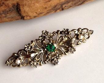 Etsy, Etsy Jewelry, Etsy Vintage, Vintage Brooch, Plastic Brooch, Gerry's Brooch, Filigree Brooch, Green Rhinestone, Faux Pearls