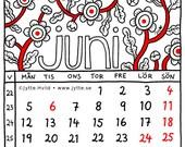 Month 2017 calendar SQUARE Swedish floral digital instant download, pdf