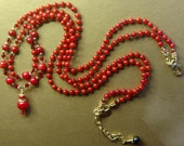 Hand knotted 2 strand semi precious red coral and 14k gold filled beaded necklace