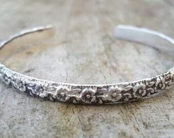 Flower, engraved, mother nature, sterling silver cuff bracelet, adjustable