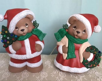 Christmas Bears - Santa and Mrs. Claus Bears - Holiday Bears - Christmas Bear Couple - Lighted Christmas Bears - Christmas in July -