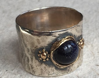 Boho ring, Silver gold ring, Gypsy ring, blue gold stone ring, unique silver ring for her, hippie ring, wide hammered band - Alive R2377