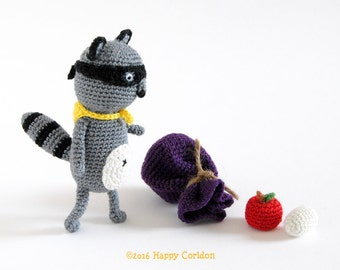 Crochet pattern - Jack the racoon amigurumi