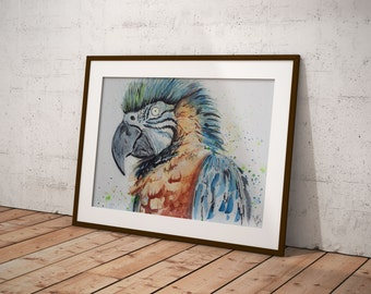 DIGITAL DOWNLOAD Blue Macaw, bird parrot watercolor printable home decor wall art