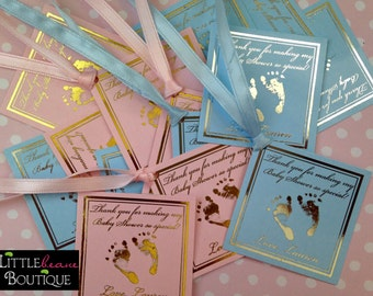 Baby Shower Gift Tags, Baby Feet Tags, Baby Footprint Hang tags, New baby gift tags, Pink, Blue, Silver, Gold, Metallic Gift Tags, set of 16