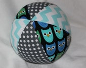 Blue Woodland Pals Owls Fabric Boutique Ball Rattle Toy