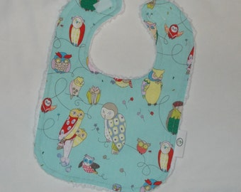 Cool Light Blue Owls and Chenille Bib - SALE