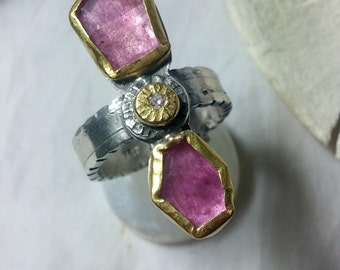 RESRVED FOR RT Tourmaline Ring, Multi stone  Ring, silver and 22 kt yellow gold ring,  Tourmaline and diamond stone ring