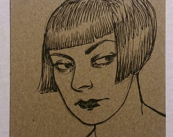"""Original Drawing """"Scowl"""" by Amy Abshier"""