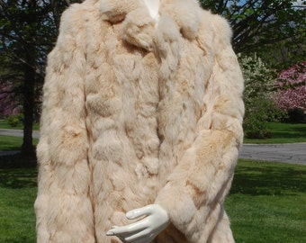 Vintage Rabbit fur coat large light tan ivory sewing fashion project runway supplies real fur jacket short soft lined