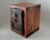 Copper & Bronze Knotty Wood Safe with Vintage Bronze Post Office Mail Box Door Mail manly groomsman father dad 8th Anniversary Retirement