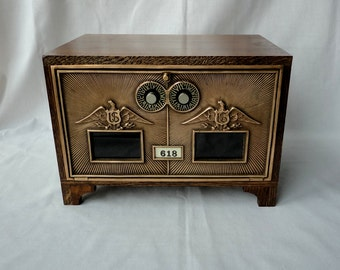 Wooden Post Office Door Safe Vintage Eagle Dual Dial Combination Wood Feet Brass Bronze PO Keepsake Box Bank Wedding Card Box Gun Cabinet