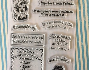 Retro Snarky Sayings Theme 6x4 Clear Stamp Set 10 pc