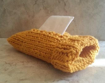 Pocket Kleenex Travel Tissue Sock Cover Handknit Gold Cotton Top or Side Pull Gift under 20 Back to School