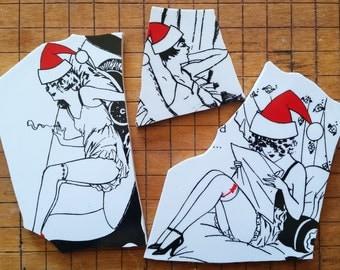 Mosaic Tiles-Pinup ladies- Santa Christmas Holiday - 3 Large Focal tiles