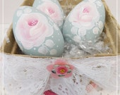 Aqua Wood Eggs Set, Hand Painted with Cottage Pink Roses, Glittered White Leaves, Display, Easter, Spring Decor, ECS