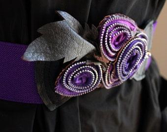 Violet Zipper Rosette Elastic Belt