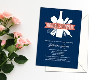 Kitchen Utensils Bouquet Bridal Shower Invitation, Cooking Event Invitation or Announcement, Love of Cooking or Casual Food Event Invitation