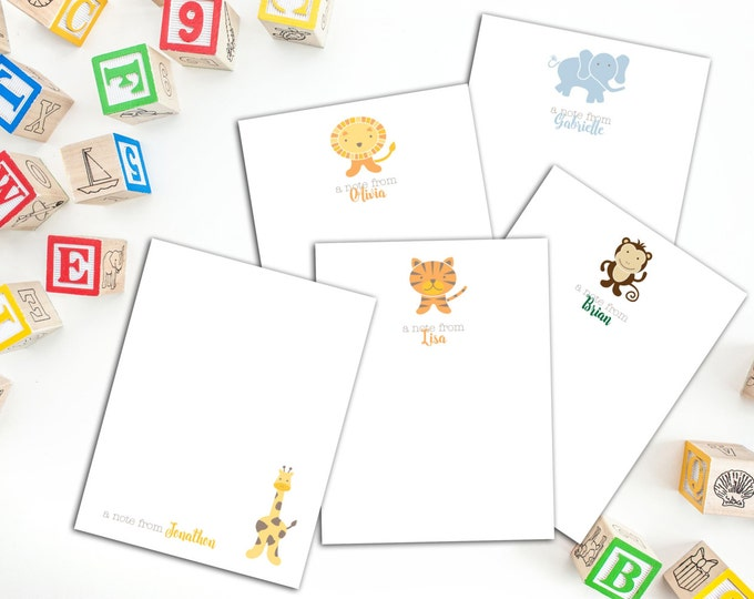 Set of Fifty Personalized Animal Note cards, Kids Note Cards, Cute Animal Note Cards, Cute Cards for Children, Kids Thank you Cards