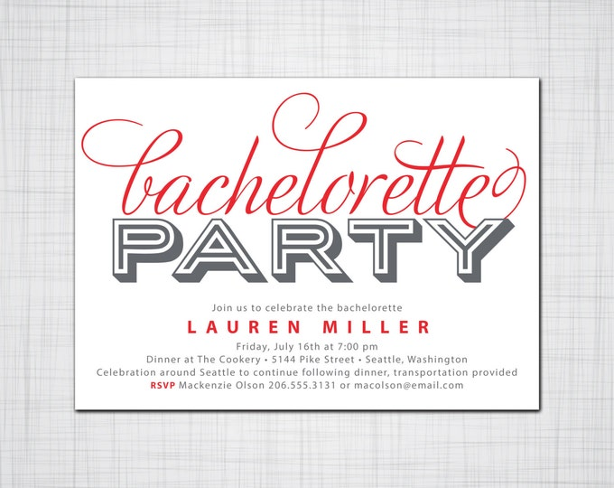 Bold Bachelorette Party Invitation, Paint the Town Red Party Invite, Custom Colors Bachelorette Party Invitation, Event Invitations, Party