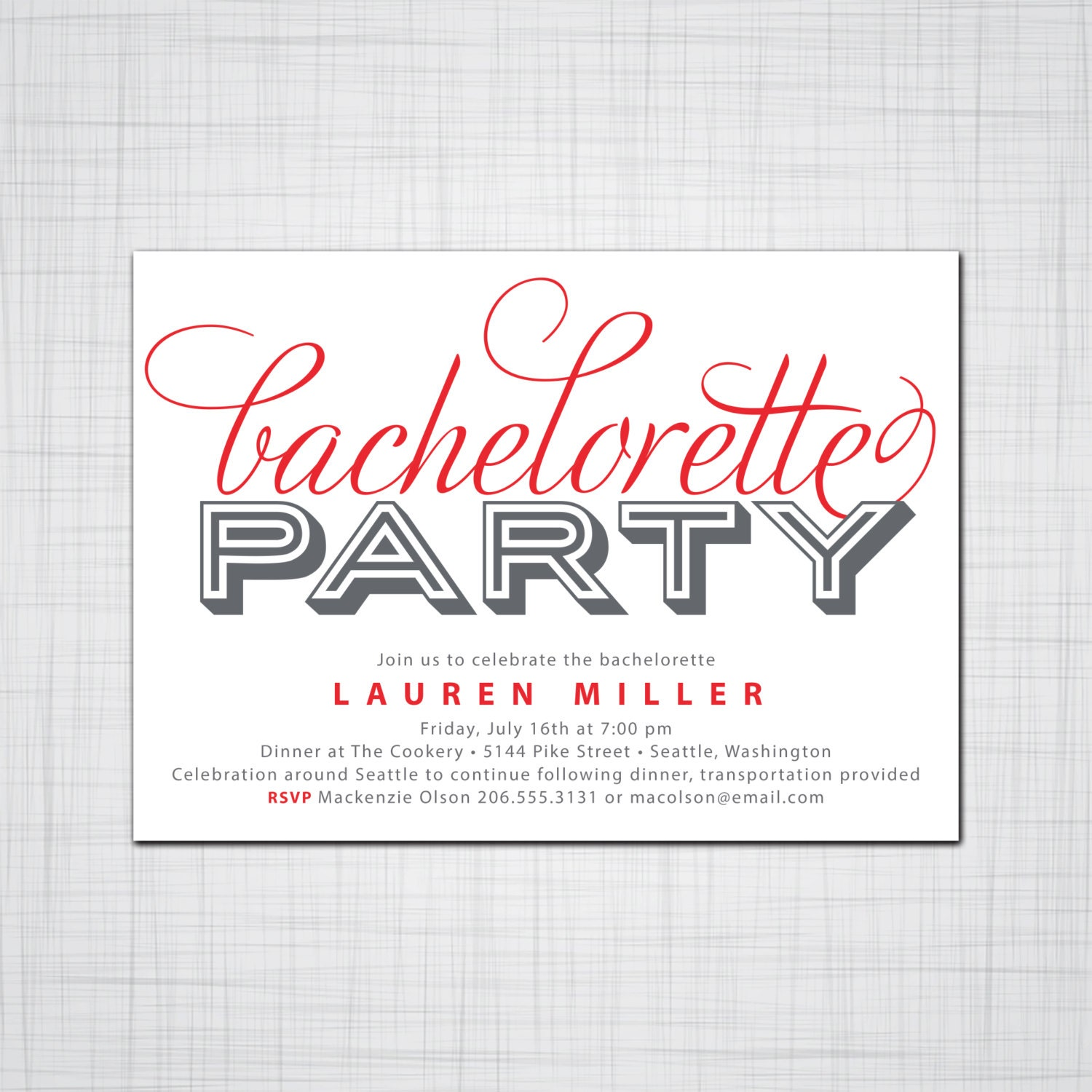 Bold Bachelorette Party Invitation Paint the Town Red Party – Bachelor Party Email Invite