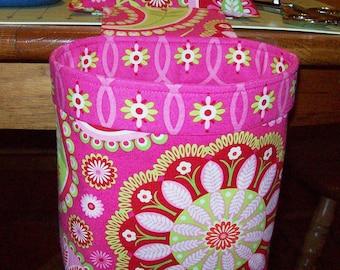 Thread Catcher // Scrap Caddy // Pin Cushion With Rubberized Gripper Strip // Gypsy Bandana // Bright Pink