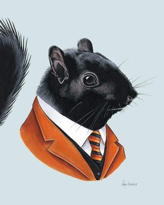 Black Squirrel art print 8x10