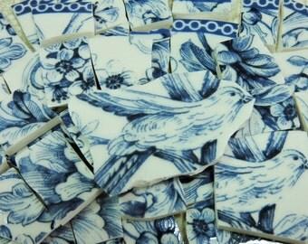 Mosaic Tiles - FReNCH BLuE & WHiTE TOiLE - CHaRMiNG BiRDS - 105 China Mosaic Tiles