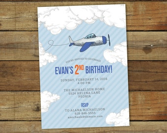 Airplane birthday party invitation, vintage plane party invitation, printable birthday party invitation for any age in custom colors
