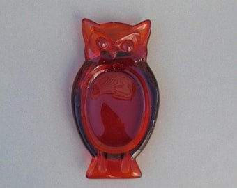 Viking Glass Owl Ashtray Persimmon Red Change Holder Catch All Dish