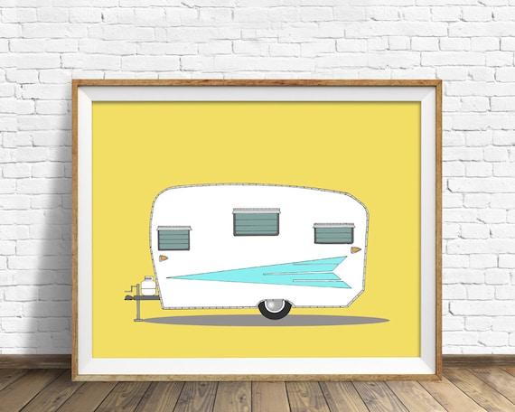 """vintage camper, mid century modern, camper, large wall art, orange, aqua, modern home decor, modern wall art - """"Vintage Roadrunner, 1962"""""""