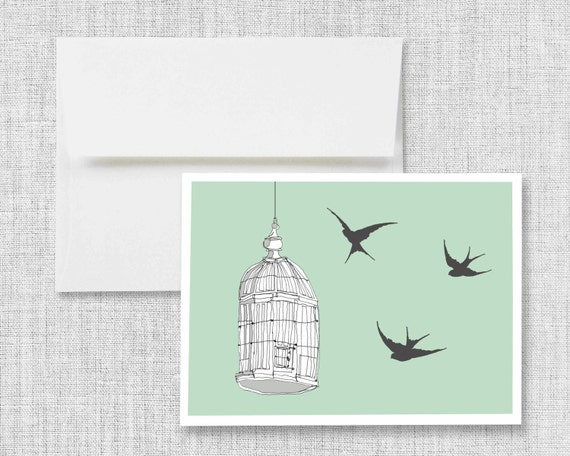 "greeting card, blank greeting card, quaking aspens, greeting card set, sparrows, birds and bird cage, vintage bird cage, art - ""Caged Bird"""