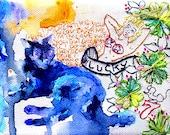 Cat art print. Cat Art. Vintage Tattoo Design. Lucky Black Cat. Fun print. Kylie Minogue!