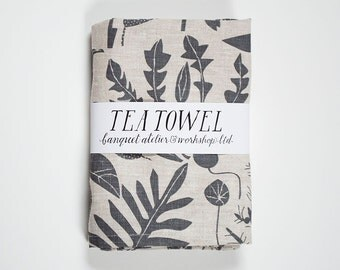 House Plants Tea Towel - linen screen print - charcoal