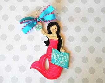 Mermaid ornament - painted ornament - wood ornament - personalized ornament- painted - mermaid - ocean theme gift - mermaid girl -
