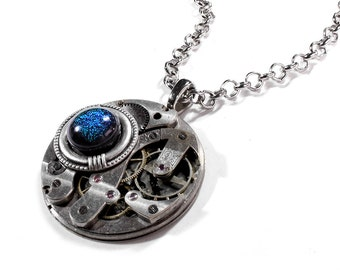 Steampunk Jewelry Necklace Etched UNIQUE Pocket Watch Peacock Multi Color Dichroic Cab Womens Mens Jewelry GORGEOUS - Jewelry by edmdesigns