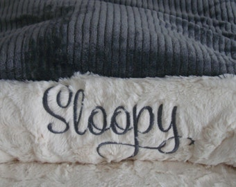 Snuggle Sack - Dog Bed - Ash Gray Velour Minky with Wide Wale -  snuggle Sack- Cats - Pets - Includes Embroidered Personalization