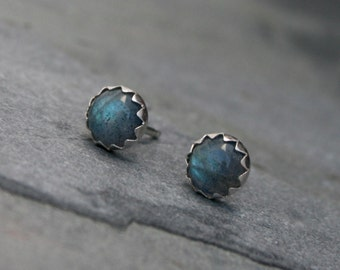 Iridescent Labradorite Sterling Silver Studs Earrings Shiny Finish Natural Gemstone Cabochon Gem Serrated Bezel Post